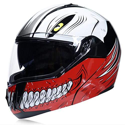 ZDHG Casco Moto,Casco Moto modulare a Faccia Aperta, personalità Cool, Doppio Parasole e Casco Unisex per Le Strade Fuoristrada,L
