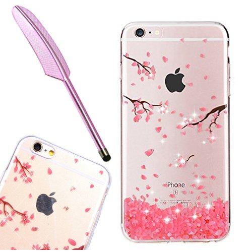 iPhone 6 6S Hülle, Edaroo Schöne Rosa Kirschblüte Blumen Motiv Ultra dünn Silikon Hülle durchsichtig mit Muster Glitzer Bling Strass Diamante TPU Schutzhülle Handyhülle für iPhone 6/6S (4,7 Zoll) -
