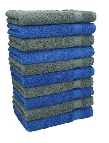 Betz set di 10 asciugamani per ospiti premium misura 30 x 50 cm colore blu reale e grigio antracite