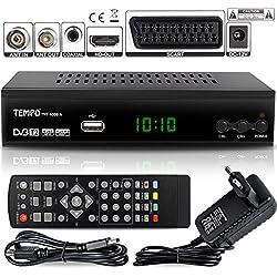 hd-line Tempo 4000 A DVBT2 Receiver Full HD 1080P 4K für TV ( HEVC/H.265 HDMI SCART, USB 2.0 , DVBT-2 , DVB-T2 , DVB T2 , DVBT 2 ), Reciver , Resiver, Empfänger , Schwarz