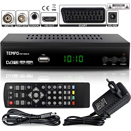 hd-line Tempo 4000 A DVB-T2 Receiver - HEVC/H.265 - H.264 / MPEG2 - MPEG4 / 1080i - 1080p Standard (Full HD 1080P, HDMI, SCART, USB 2.0) - Automatische İnstallation Schwarz