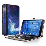 Samsung Galaxy Tab A 10.1 Tastatur Hülle, Infiland Bluetooth Tastatur Ultradünn leicht Ständer Schutzhülle mit magnetisch abnehmbar drahtloser Bluetooth Tastatur für Samsung Galaxy Tab A 10,1 Zoll T580N / T585N Tablet (QWERTZ Tastatur,Galaxis)