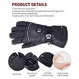 Elektrische Beheizbare Handschuh Wiederaufladbar mit 3 Dateien einstellbarer Temperatur, Winterhandschuhe Herren Damen Wasserdicht&Winddicht warm, Ideal für Outdoor-Skifahren, Motorrad, Reiten, Jagen - 5