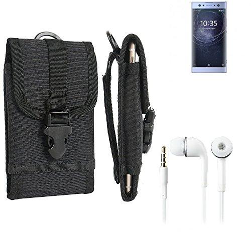 K-S-Trade Schutzhülle für Sony Xperia XA2 Ultra Dual-SIM Gürteltasche Handyhülle Schutz Hülle Gürtel Tasche Handy Tasche Outdoor Seitentasche schwarz 1x + Kopfhörer