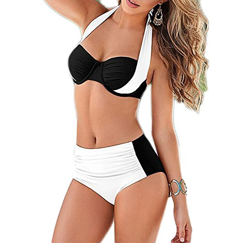 Missyhot Damen Zweiteiliges Bademode Bandeau Schwimmenanzug Zweifarbig Tankini Vintage Bikini Set Neckholder Badeanzug Hohe Taille (M, Weiss)