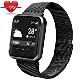 Fitness-Armband wasserdicht,Miya IP68 Bluetooth Smartwatch intelligente Armbanduhr Farbe Touchscreen Blutdruck Uhr Herzfrequenz Messgerät Sport Fitness Tracker, für Android und IOS(Schwarz)