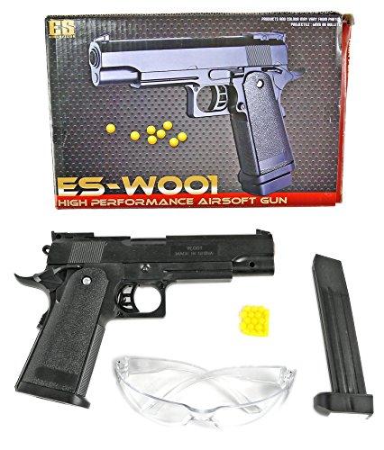 istole komplett Set inkl. Schutzbrille, Speedloader, Munition schwarz 6 mm ca. 24 cm Kinder-Pistole Spielzeug-Pistole Air-Soft unter 0,5 Joule ab 14 Jahre ()