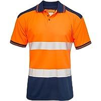 shelikes Mens Polo Hi Vis VIZ Visibility Contrast 2 Two Tone Workwear Tshirt Tee Top