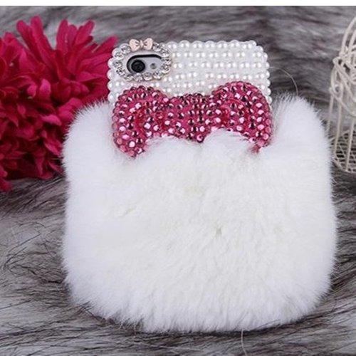 EVTECH (TM) Warm Plüsch Serie Luxuxkristalldiamant Bling Strass Perlen Design-Tasche für Apple iPhone 4 4S 4G, Verizon, AT & T, T-Mobile, Sprint und anderen Carriers (100% Handarbeit) (Muster-A2)