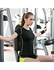 La ropa de ejercicio del verano de fitness femenino traje de ropa de pantalones de jogging yoga era delgada , lemon yellow , l