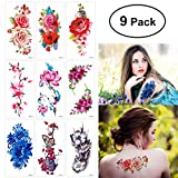 #6: ULTNICE ULTNICE 9 Sheets Temporary Tattoo Rose Peony Flower Butterfly Lotus Cherry Blossoms Flash Tattoo for Arm Shoulders Waist Chest Back