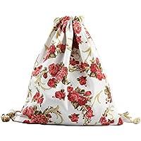 87d210df53 Kanggest Drawstring Backpack Drawstring Gym Flower Pattern Backpack Cute Gym  Rucksack School PE Kit bag Tote