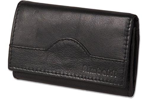 Rimbaldi® Schlüsseltasche + Geldbörse mit 6 Schlüsselhaken und Geldbörse aus naturbelassenem Rindsleder in Schwarz, Schwarz