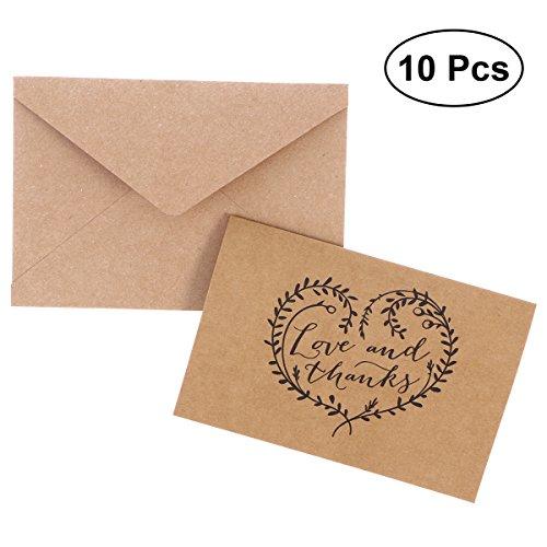 10pcs kraft love and thanks lettere con biglietti da visita pieghevoli set con buste kraft - 11