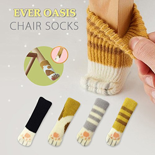 16 Chair Socks(4 Sets) - Fancy Table Leg Pads with Cute Cat Paws Design - Reliable Furniture & Floor Protector - 4 Patterns in 1 Package (4 Sets of Different Colours) (4 Sets of Different Colours)