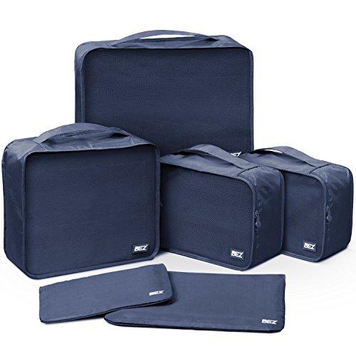 Packtaschen für Koffer, BEZ Kleidertaschen Set für Rucksack 6-Teilig, Packing Cubes Ackwürfel, Reisegepäck Kofferorganizer Kleidertasche, Blau