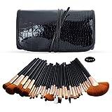 RFVBNM Cepillo de maquillaje 32 piezas de cocodrilo pincel de maquillaje conjunto de cocodrilo patrón bolsa de cepillo Pelo de fibra dos colores herramientas de belleza profesionales portátiles