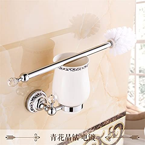 All copper continental toilet brush rack hardware pendant jade blue and white porcelain cleaning toilet brush set, silver