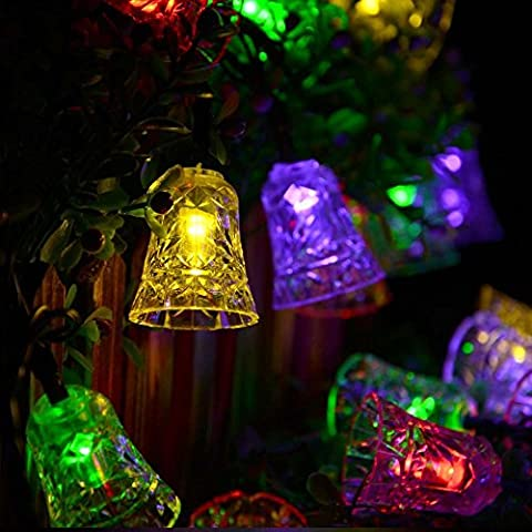 Xcellent Global Luces Cadena 2 Modos Campana Solar Hadas Multicolores 20 LED Navidad Para Boda Fiesta Jardín Decoración Exteriores LD055