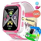 TURNMEON Enfants Montre Intelligente Téléphone Smartwatch Enfants pour Garçons Filles avec SOS Appels Caméra Jeux Cadeaux d'anniversaire Électronique Jouets (03 Rose)
