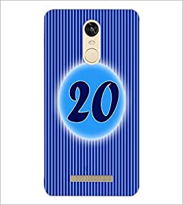 PrintDhaba Numerology Number 20 D-2578 Back Case Cover for XIAOMI REDMI NOTE 3 PRO (Multi-Coloured)