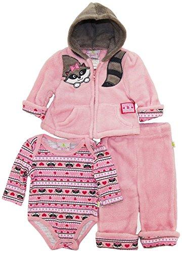 duck-goose-baby-girls-cute-raccoon-sherpa-jacket-bodysuit-3pc-pant-set-pink-6-9-months