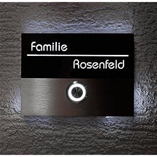 Metzler-Trade® Türklingel aus Edelstahl - beleuchteter LED-Taster (versch. Farben möglich) - beleuchtetes Acrylglas-Namensschild inklusive 3D-Gravur -Größe:110 x 80 mm - Unterputz-Montage