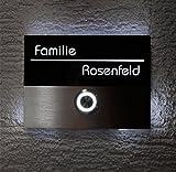 Metzler-Trade Türklingel aus Edelstahl - beleuchteter LED-Taster (versch. Farben möglich) - beleuchtetes Acrylglas-Namensschild inklusive 3D-Gravur -Größe:110 x 80 mm - Unterputz-Montage