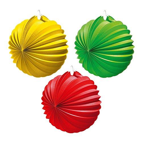Lampion, Durchmesser 22 cm, 1 Stück, rot/ grün/gelb (Gelbe Laternen)