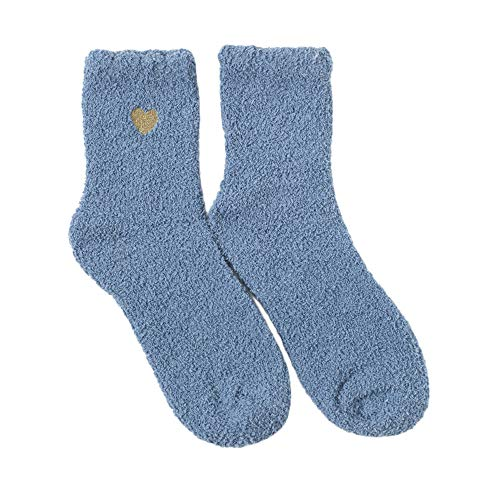 ZZBO Damen Flauschige Socken Wärmende Fluffy Bettsocken Verdickenden Terry Socken Cosy Strumpf Niedliche Lange Socken Hochwertige Extraweiche Herzmuster Socken Winter Thermo Socken Lässig Socken