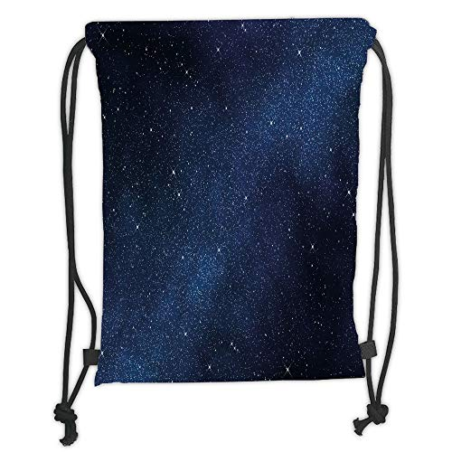 Drawstring Backpacks Bags,Night,Space with Billion Stars Inspiring View Nebula Galaxy Cosmos Infinite Universe,Dark Blue White Soft Satin,5 Liter Capacity,Adjustable String Closure