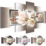 Bilder Blumen Magnolien Wandbild 200 x 100 cm Vlies - Leinwand Bild XXL Format Wandbilder Wohnzimmer Wohnung Deko Kunstdrucke Braun 5 Teilig -100% MADE IN GERMANY - Fertig zum Aufhängen 205751c