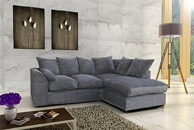 Porto Jumbo Cord Corner Sofa, Settee, Full Chenille Cord Fabric in Grey by Abakus Direct