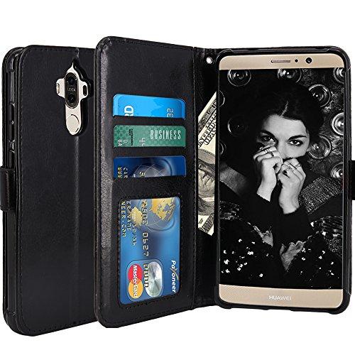 Huawei Mate 9 Hülle, LK Luxus PU Leder Brieftasche Flip Case Cover Schütz Hülle Abdeckung Ledertasche für Huawei Mate 9 (Schwarz)