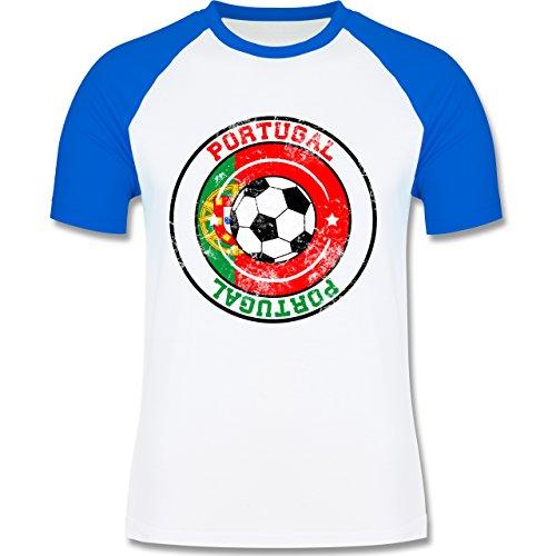 EM 2016 - Frankreich - Portugal Kreis & Fußball Vintage - zweifarbiges Baseballshirt für Männer Weiß/Royalblau