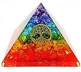 7Chakra de cristal árbol de vida orgón pirámide Kit/incluye 4cristal cuarzo puntos de energía/EMF protección Meditación Yoga Generador de energía...
