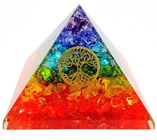 7Chakra Kristall Baum des Lebens Energetische Pyramide Kit/inkl. 4Kristall Quarz Energie Punkte/EMF Schutz Meditation Yoga Energie Generator... (Crystal Grünen Amethyst)