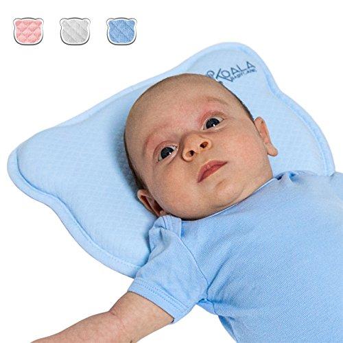 Preisvergleich Produktbild Orthopädisches Plattkopf Babykissen mit zwei entfernbaren Bezügen beugt vor / heilt Plagiozephalie (Schiefschädel-Kopfform) | Babykopfkissen Koala Babycare – Koala Perfect Head – Blau