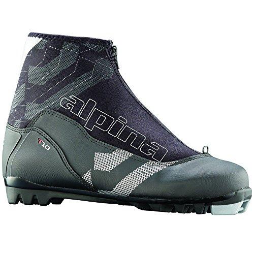 alpina T10Langlauf Nordic Touring Ski Stiefel mit Reißverschluss Lace Cover, schwarz