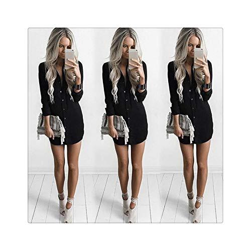 Fashion Women Long Sleeve Short Loose Shirt Dress Casual Summer Autumn Solid Mini Dresses Black M -