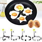 #9: Voltac Stainless Steel Kitchen Fried Egg Poacher Pancake Poach Ring with Handle- 4PCs of Set Model 390293