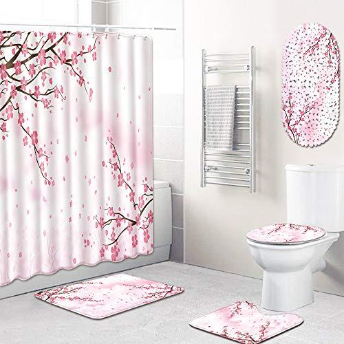Teppiche Set von 5 Anti Rutsch Bad Teppiche Set Podest Teppich + Deckel Toilettenabdeckung + PVC Badezimmer Matte und wasserdicht Duschvorhang Home Decor,F,45 * 75cm ()