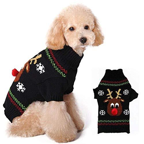 MCYs Haustier Hund Weihnachtskleid Haustier Hundekatze Winter Turtleneck Elch-Strickjacke Kostüm Kleid Sweater Pullover