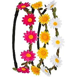 3x Flores Cinta Pelo Banda Diadema Corona con justierbaren banda elástica en los colores blanco, Amarillo y rosa