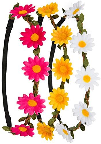Haarband Kopfband Krone mit justierbaren elastischen Band in den Farben weiß, gelb und pink ()