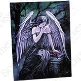 Fantastisches Anne Stokes Design - Lost Soul - Verlorene Seele – einen gotischen Engel mit Rose sitzt auf Grabstein - Leinwand Bild auf Bild-Wand-Plakette / Wand Kunst