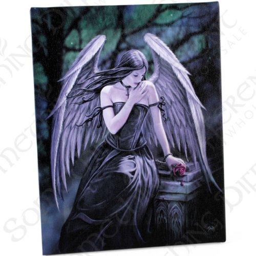 Fantastisches Anne Stokes Design - Lost Soul - Verlorene Seele – einen gotischen Engel mit Rose sitzt auf Grabstein - Leinwand Bild auf Bild-Wand-Plakette / Wand (Grabsteine Gotische)