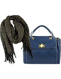 d6f4a11d931999 Damen Henkel-Tasche, Geschenk-Set zusammen mit langem, weichem Winter-Schal