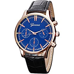 Men Wrist Watch, Rcool Retro PU Leather Black Band Blue Dial Analog Alloy Quartz Watch