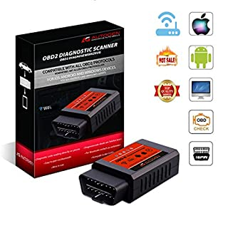AUTOGEN® OBD2 WiFi Adapter Diagnosegerät, ELM327 II mit iOS/Android/Windows, Wireless Auto Scanner Interface, für Car PKWs KFZs